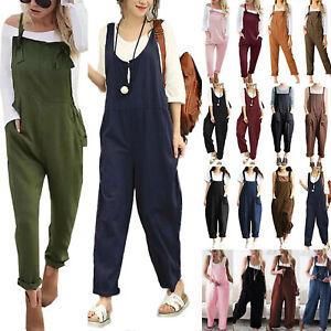 Women's Harem Jumpsuit Dungarees Baggy Long Playsuit Pants Trousers Overalls