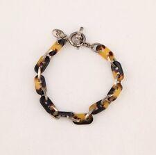 Vintage Ralph Lauren tortoise shell plastic silver Tone chain link bracelet