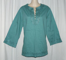 NATIONAL GEOGRAPHIC Seafoam Green Tunic w/ Bell Buttons, SZ M, EUC, RARE & HTF