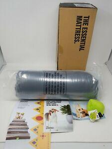 BarkBox Memory Foam Dog Bed   Plush Orthopedic Joint - Medium, Grey with toy