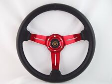 """Boat Steering wheel W/ Adapter 3 spoke boats with 3/4"""" tapered key Marine Red"""