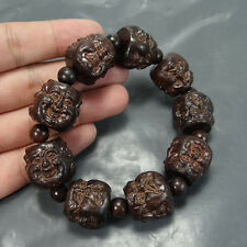 China Natural wood carving Buddha head beaded Bracelet crafts
