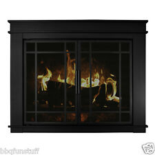 Pleasant Hearth Fillmore Glass Fireplace Door Midnight Black w/Door Screens Med