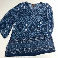 Multiples Tunic Top Blouse Women's Blue L Semi Sheer Textured 3/4 Sleeve V-Neck