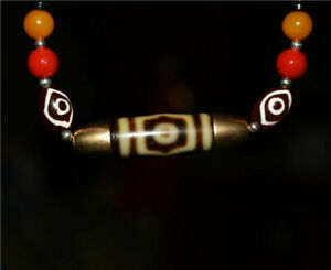 tibetan real 3 eyes dzi bead amulet old pure gold three eyed gzi ancient pendant