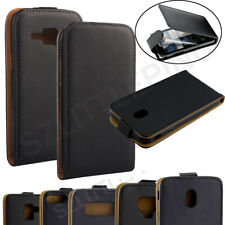 Black Leather Flip Vertical Cover Case Pouch For Samsung Galaxy Cell Phones