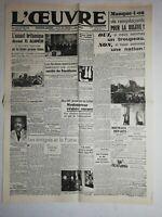 N1128 La Une Du Journal L'œuvre 5  novembre 1942 l'assaut britannique