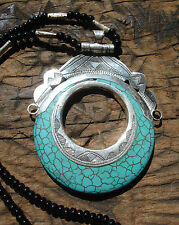 Silver turquoise Niger Tuareg hand engraved  large pendant with  agate beads