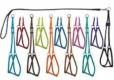 Dogline Genuine Round Leather Step-In Harness with 4ft Lead Leash Soft 12 colors