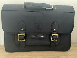 "16"" Vintage style Leather Satchel Messenger Laptop School Bag Navy"