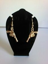 GUN drop Earrings ladies gangster/ police costume SURGICAL STEEL assorted design