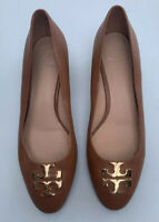 Tory Burch Shoes 9.5 Dark Tan Leather Raleigh Pump Tan Brown Gold Heels