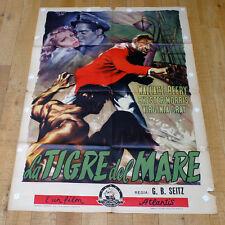 LA TIGRE DEL MARE manifesto poster Wallace Beery Virginia Grey Nave Boat War G9