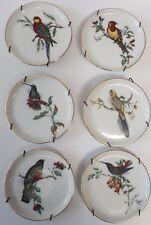 Furstenburg Porcelain BIRD MINI PLATES Set of 6 Vintage w/ Hangers Germany