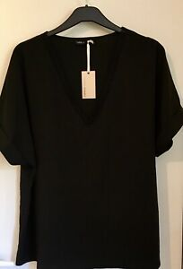 Black Top UK Size 18 Lace V-Neck Women's