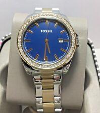 Fossil Womens Watch Silver / Gold  3 Hand Date Blue Dial Glitz BQ3294 MSRP $145