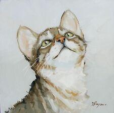 Pintura al óleo originales-Retrato de un gato-por J Payne