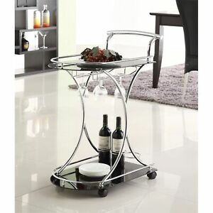 Dazzling Serving Cart With 2 Black Glass Shelves, Silver