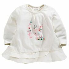 ВNWT NEXT Girls Blouse Top • Embroidered Butterfly T-Shirt • 100% Cotton • 3-6 m