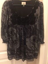 79edf1267eb038 ECI Womens Top Size 8 Black Grey Floral Sheer Sleeves Romantic Blouse