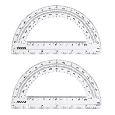 Plastic Protractor Math Protractors 180 Degrees, 6 Inch, Clear, Pack of 2