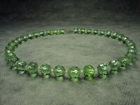 Art Deco Vintage Bohemian Green Crystal Cut Glass Bead Necklace