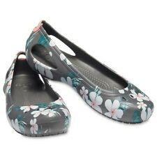 Women's Gray Floral Crocs Flats Slip On Shoes Size 10 New