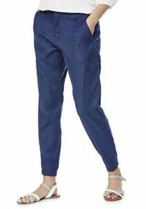 NEW Ladies/womens Linen Blend Blue Utility Trousers UK size 6 regular