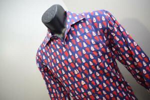 Bugatchi Uomo Dress Shirt Shaped Fit Flip Cuff Avocado Long Sleeve Mens Large