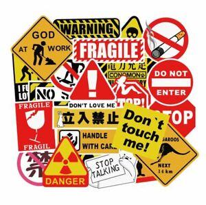 Assorted 50-Pack Vinyl Sticker Bomb Warning Sign Theme Decal Graffiti Roll Mix
