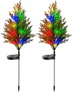 2PC Outdoor Solar Multi-Color Garden Lawn Christmas Tree Stake Lights Waterproof