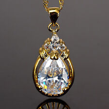 Fashion Jewelry White Topaz CZ Yellow Gold Plated Pendant Necklace Chain 18""