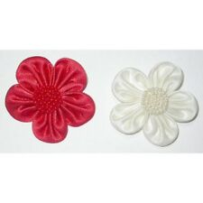 "2.1/2""(63mm) Red Satin Beaded Flower Sew On Applique"