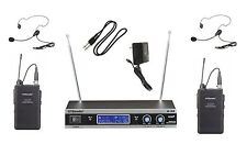 GTD Audio 2 Channel VHF Heatset Lapel Wireless Microphone System  New V-28LL