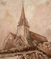 THE VALE CHURCH GUERNSEY Small Watercolour Painting - 19TH CENTURY