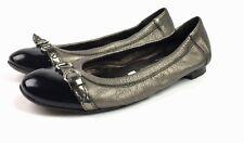 AGL Attilio Giusti Leombruni Womens Captoe Ballet Flat Sz 36.5 Black Gray Patent