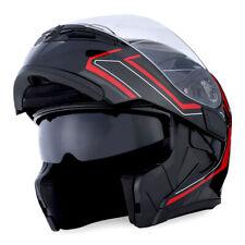 1Storm Motorcycle Modular Flip up Full Face Helmet Dual Visor Arrow Red