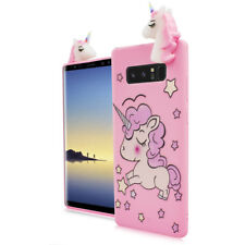 For Samsung Galaxy NOTE 8 - Pink Cute Unicorn Stars Soft Rubber Silicone 4D Case