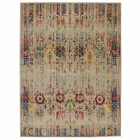 "8'10""x12' Colorful Sari Silk Textured Wool Erased Design Hand Knotted Rug R58215"