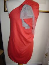 Lanvin L coral  1 shoulder sweater dress w grey cotton cashmere silk