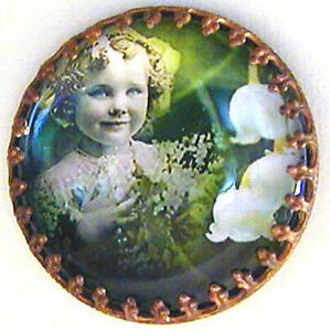 1 Czech Crystal Glass/Brass Dome Button #A451 - RARE ANTIQUE Components - LARGE