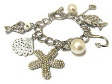MULTI CHARM SEA THEME SILVER BRACELET NEW AND HOT!