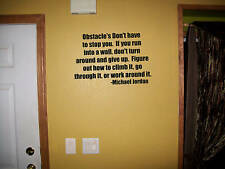 Obstacles don't stop, Jordan Quote vinyl wall decals