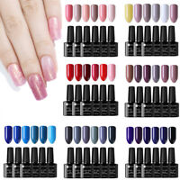 6Bottles Unghie UV Gel Polish Soak off Pure Tips Nail Art UV/LED Gel Kit