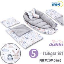 🔥5tlg Baby Nestchen Kokon Babynest Reisebett + Decke Kissen SET Grau SAMT Tiere