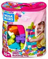 Mega Bloks Sac rose, jeu de blocs de construction, 80 pièces, jouet pour bébé…