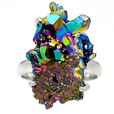 Titanium Aura Quartz 925 Sterling Silver Ring Jewelry s.7 RR31903