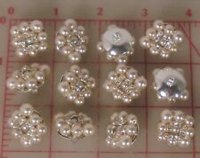 "12 beaded Czech shank button glass pearls & silver rhinestone rondelles 1"" 1512"
