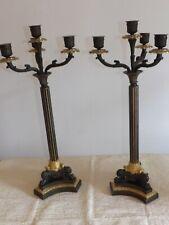 Paire de candélabres en bronze époque restauration