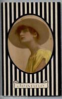 JEANNE Donnina Cappello Moda Glamour Girl PC Viaggiata  1917 Art Nouveau